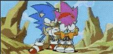 Sonic helps Amy get up.